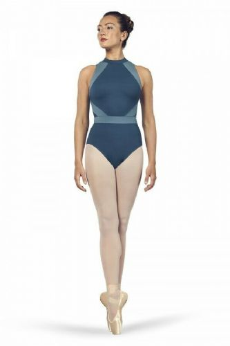 BLOCH Ladies Dance Halter Neck Open Back Leotard Alia L4965 Seaport Blue